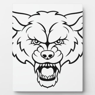 Wolf Sports Mascot Angry Face Plaque