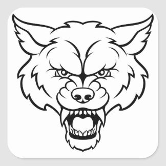 Wolf Sports Mascot Angry Face Square Sticker