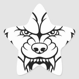 Wolf Sports Mascot Angry Face Star Sticker