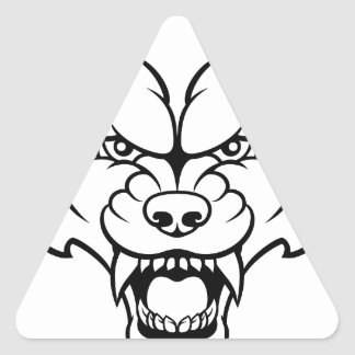 Wolf Sports Mascot Angry Face Triangle Sticker
