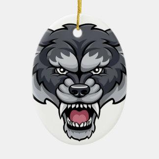 Wolf Sports Mascot Christmas Ornament