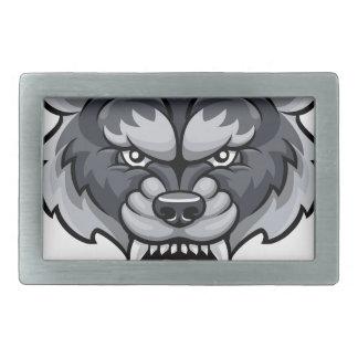 Wolf Sports Mascot Rectangular Belt Buckle