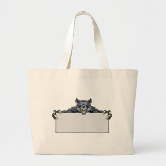 Wolf Sports Mascot Sign Large Tote Bag
