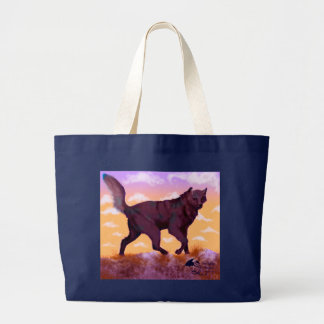 Wolf Sunset Large Tote Bag