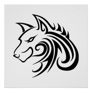 Wolf Tattoo Tribal Poster