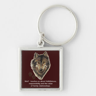 Wolf Totem, Animal Guide Inspirational Silver-Colored Square Key Ring