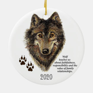 Wolf Totem Animal Guide Watercolor Nature Art Christmas Ornament