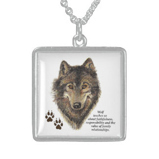 Wolf Totem Animal Guide Watercolor Nature Art Sterling Silver Necklace