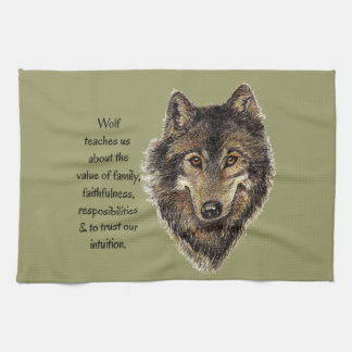 Wolf totem Inspirational Spirit Guide Animal Tea Towel