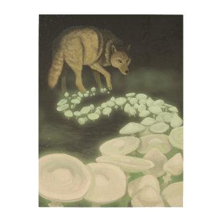Wolf Trailing Death Mushrooms Wood Wall Art