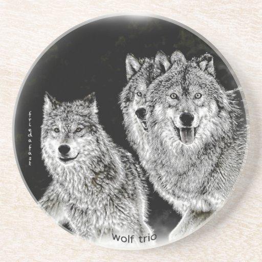 Wolf Trio Beverage Coasters