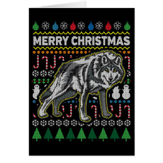 Wolf Ugly Christmas Sweater Wildlife Series Card