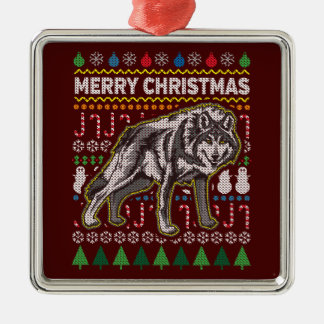 Wolf Ugly Christmas Sweater Wildlife Series Christmas Ornament