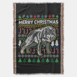 Wolf Ugly Christmas Sweater Wildlife Series Throw Blanket