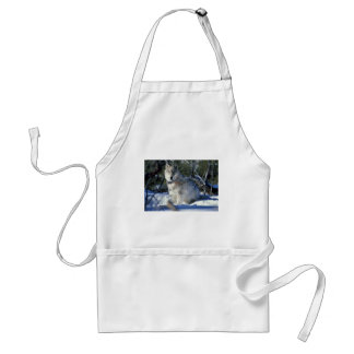 Wolf watches biologists in Yellowstone National Pa Standard Apron