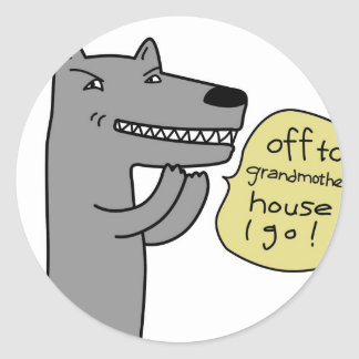 Wolf (white) round sticker