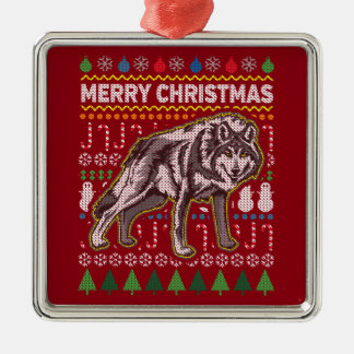 Wolf Wildlife Merry Christmas Ugly Holiday Sweater Silver-Colored Square Decoration