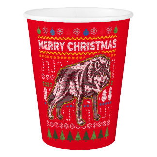 Wolf Wildlife Merry Christmas Ugly Sweater Style Paper Cup