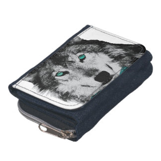 Wolf with Blue Eyes and a Bow Tie Wallet