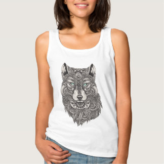 Wolf With Green Eyes Detailed Illustration Tank Top