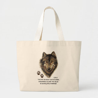 Wolf, Wolves Animal Totem, Nature Guide Large Tote Bag