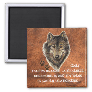 Wolf, Wolves Animal Totem, Nature Guide Square Magnet