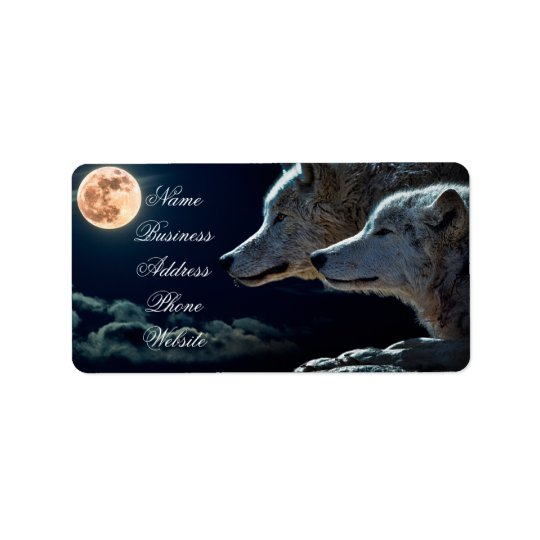 Wolf Wolves Howling at the Full Moon Address Label