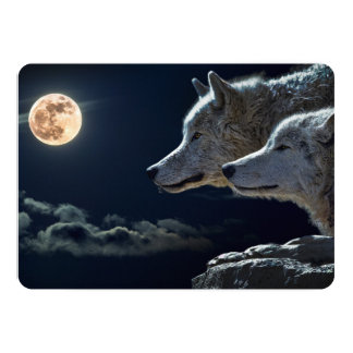 Wolf Wolves Howling at the Full Moon at Night Announcement Cards