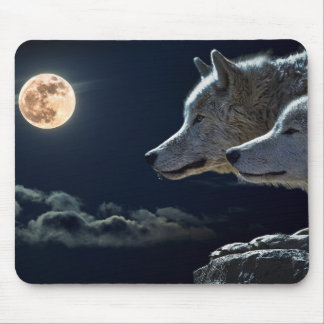 Wolf Wolves Howling at the Full Moon at Night Mouse Mat