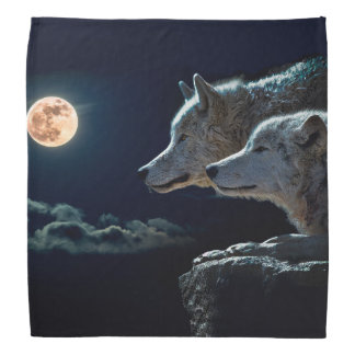 Wolf Wolves Howling at the Full Moon Bandana