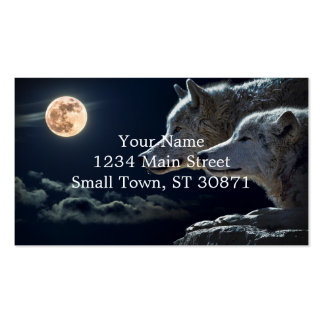 Wolf Wolves Howling at the Full Moon Double-Sided Standard Business Cards (Pack Of 100)