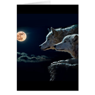 Wolf Wolves Howling at the Full Moon Card