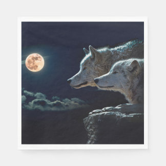 Wolf Wolves Howling at the Full Moon Disposable Serviette