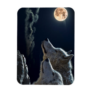 Wolf Wolves Howling at the Full Moon Rectangular Photo Magnet