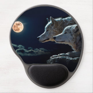 Wolf Wolves Howling at the Full Moon Gel Mouse Mat