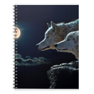 Wolf Wolves Howling at the Full Moon Notebook