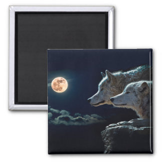 Wolf Wolves Howling at the Full Moon Square Magnet