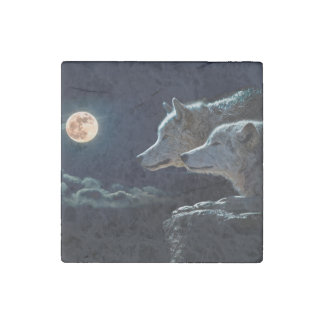 Wolf Wolves Howling at the Full Moon Stone Magnet