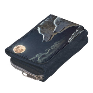 Wolf Wolves Howling at the Full Moon Wallet