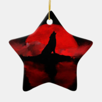 wolf wolves moon night lake clouds ceramic star decoration