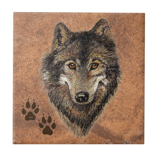 Wolf, Wolves,  Nature, Wildlife, Watercolor Animal Small Square Tile