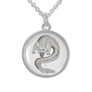 Wolfdragon black and white Design Round Pendant Necklace