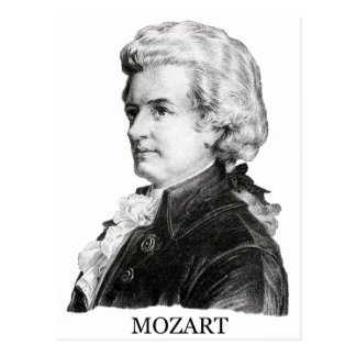 Wolfgang Amadeus Mozart, black Postcards