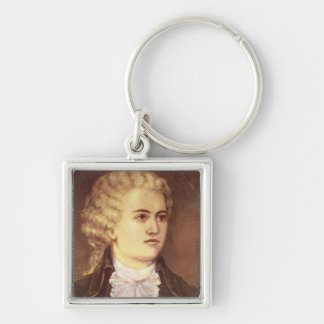 Wolfgang Amadeus Mozart  during his stay Silver-Colored Square Key Ring