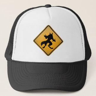 Wolfman Warning Sign Trucker Hat