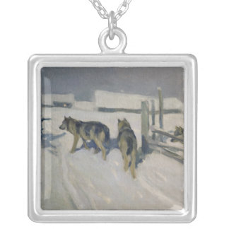 Wolfs, Winter Night, c.1910 Silver Plated Necklace