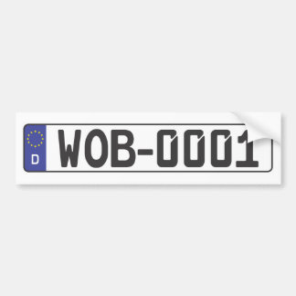 Wolfsburg License Plate Car Bumper Sticker