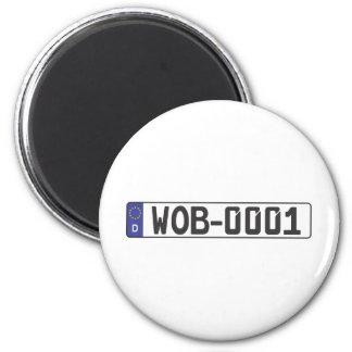 Wolfsburg License Plate 6 Cm Round Magnet