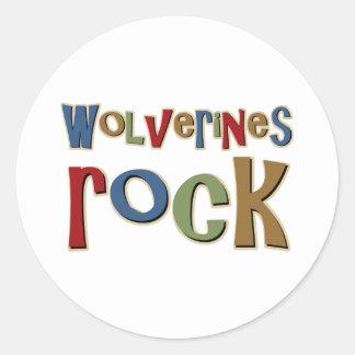 Wolverines Rock Round Sticker