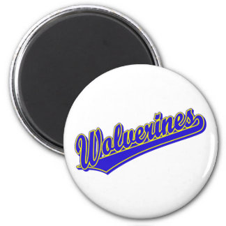 Wolverines script logo in blue and gold 6 cm round magnet